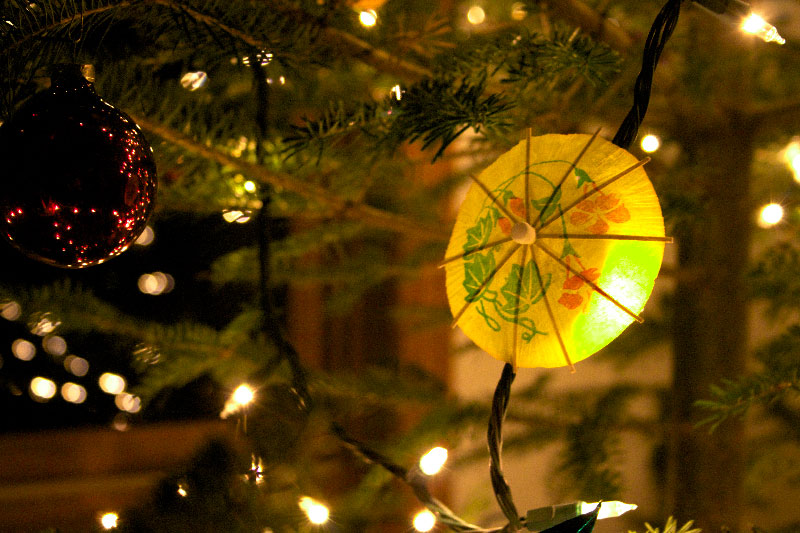Photo of Cocktail umbrellas make excellent christmas tree decorations