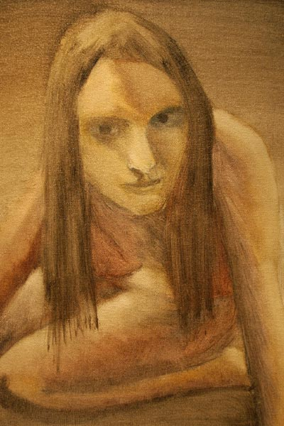 Photo of Lissa kneels (underpainting)