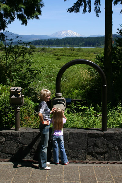 Photo of A small child looks at Mt. St. Helens